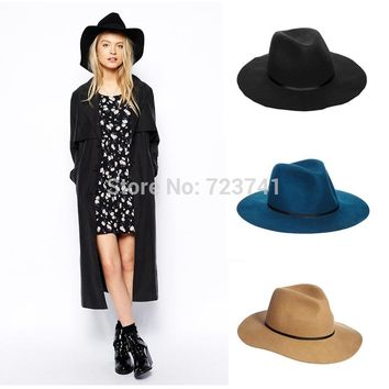 Vintage Autumn Winter 100% Wool Women's Men Fedora hats Floppy Trilby felted hat Ladies Panama Cap Adjusted 56-58CM In Stock