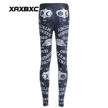 New Arrival 3715 Sexy Girl Women Ouija Number and letter Yes NO 3D Prints Elastic Fitness Polyester Walking Leggings Pants