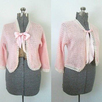 Vintage Pink Cropped Cardigan / 1950s Knit Sweater Jacket / Open Weave Wool Bolero