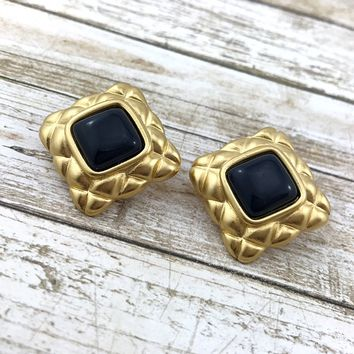 Vintage Vendome Earrings, Russian Gold Plated Earrings, 1980s. Quilted Square Earrings.
