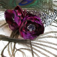 Statement Cuff - Ella Rose - Handmade Flowers, Dramatic, Gothic, Enchanting, Burgandy, Satin, Lace