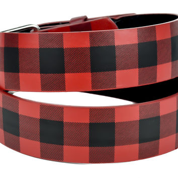Red Plaid Checkered Print Genuine Leather Belt