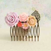 Country Wedding Vintage Hair Comb, Romantic Filigree Comb, Bridesmaid Comb, Spring Resin Flower, Summer Gift, Flowergirl comb