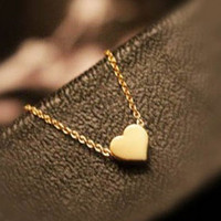 Tiny Heart Necklace Pendant Gold Plated