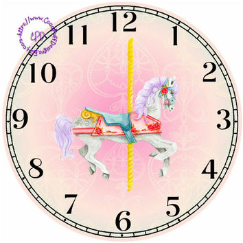 """Merry-Go-Around Horse II Art - -DIY Digital Collage - 12.5"""" DIA for 12"""" Clock Face Art - Crafts Projects"""
