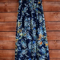 Colleen Floral Maxi Skirt in Navy and Coral