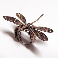 Woodland Dragonfly Steampunk Ring 'resting on a leaf' by ranaway