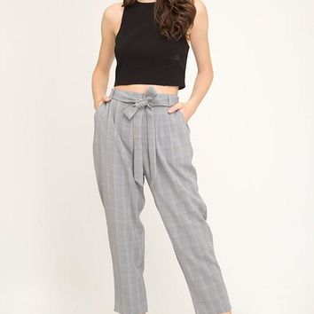Glen Plaid Trousers with Sash & Pockets - Grey