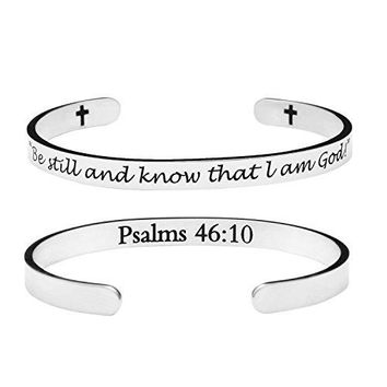 Yiyang Christian Jewelry Motivational Cuff Bracelets Bible Verse Bangle Birthday Gift for Girls