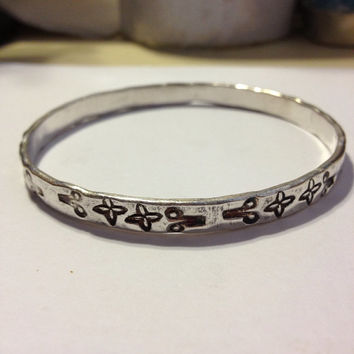 Sterling Bangle Bracelet Silver Etched Engraved Mexico 925 Mexican 18.2 Grams Vintage Jewelry Southwestern Tribal Aztec Symbols Gift 70s
