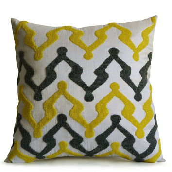 Gray Yellow Rhapsody On Ivory Silk With Beaded Throw Pillow Cover