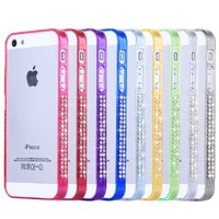 Rainbow Color Plastic Frame Case with Rhinestone for iPhone