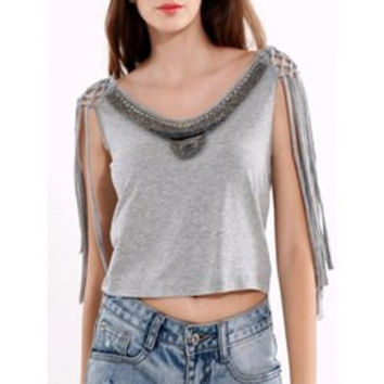 Beaded Lace-Up Grey Crop Top