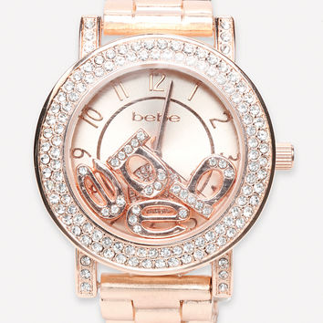 bebe Womens Floating Logo Watch