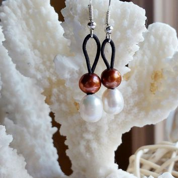 Freshwater White and Copper Pearl and Leather earrings