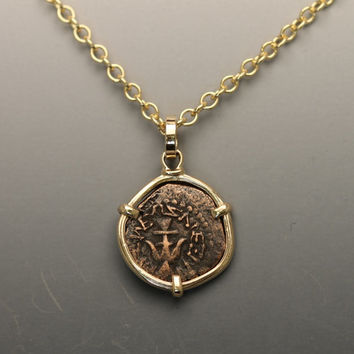 gold pendant necklace for women with widow mite coin- coin pendant necklace for women- gold pendant with ancient coin- widow mite jewelry