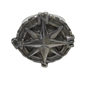Silver Toned Textured Nautical Compass Adjustable Size Fashion Ring