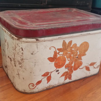 Vintage Metal Red Top Floral Design Bread Box Great Kitchen Decor Office Studio Craft Space Storage Organization Mothers Day Gift Box