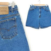 Vintage 90s Levis High Waisted Women's Jean Shorts - Size 12 - Relaxed Fit 36951 Hemmed Mom Jeans Denim Shorts - 31 Waist