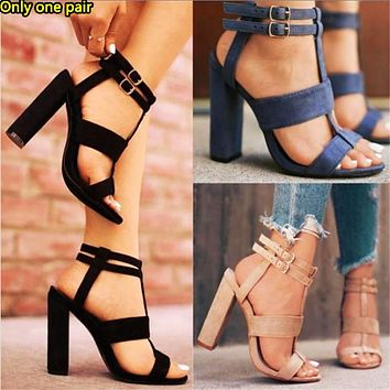 Fashion hit plus-size heels with cut-out, platform buckle sandals for women