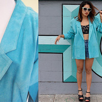 Vintage SUEDE deadstock suede genuine leather oversized large teal aqua blazer jacket coat size L XL