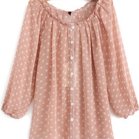 Buttons Polka Dot Half Sleeve Blouse