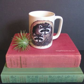 Vintage Raccoon Mug, Coffee Cup, Ceramic Tea Cup by OTAGIRI Japan