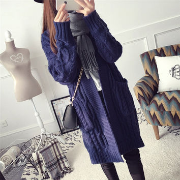 Fashion Solid Color Knit Loose Long Sleeve Cardigan Jacket