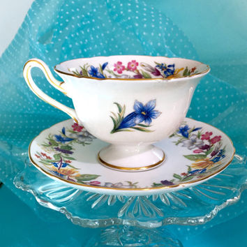 Shelley Teacup, Shelley China, Spring Bouquet, Antique Teacup, Vintage China Tea Cup and Saucer