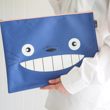 Cute Dark Blue Totoro iPad sleeve / iPad case / iPad Pro cover , Cute Handbag, Totoro Case, with Zip, Handmade ipad case, Handmade totoro