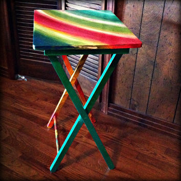 Hand Painted Wooden Folding TV Table, Bright Vibrant Colors, Rainbow Pattern, Pink, Green, Blue, Orange, Yellow Blend Patterns