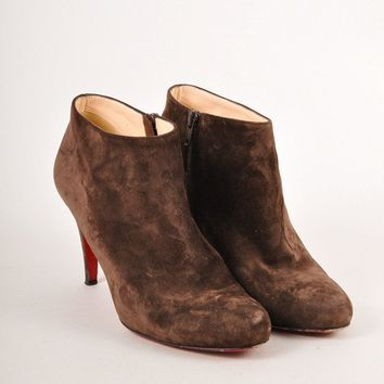 CREY3D5 Christian Louboutin Brown Suede Leather High Heel Ankle Booties