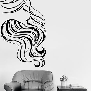 Wall Stickers Vinyl Decal Hot Sexy Pretty Woman Girl Beauty Hair Salon Unique Gift (ig1706)