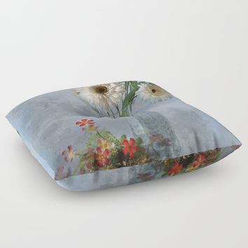 Wildflower Still LIFE Floor Pillow by Theresa Campbell D'August Art
