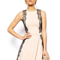 White Sleeveless Dress with Contrast Lace Lining