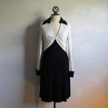 Vintage Diane Von Furstenberg Dress 1980s Black Ivory Designer DVF Wool Jersey 10 Made in USA