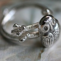 baby owl on a branch solid sterling silver ring by eRosasjewelry