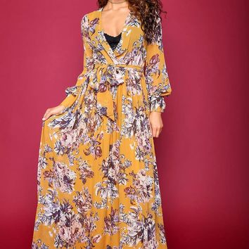 Wrap Style Floral Maxi Dress