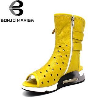 BONJOMARISA Genuine Leather Women Summer Boots Fashion Zipper Open Toe Platform Shoes For Woman 2017 Brand Cowboy Boots