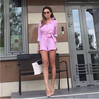 Pink Single Breasted Bow Waist Romper