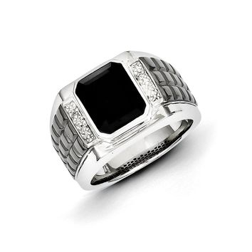 Diamond & Black Onyx 14mm Tapered Two Tone Sterling Silver Ring