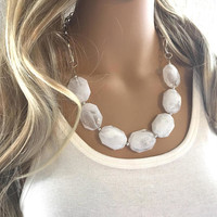 White Statement Necklace & Earring Set, white jewelry, Your Choice of GOLD or SILVER, creamy white bib chunky necklace, cream necklace
