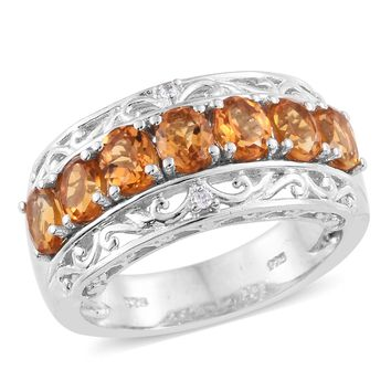 Gaucha Citrine, Cambodian Zircon Platinum Over Sterling Silver 7 Stone Ring
