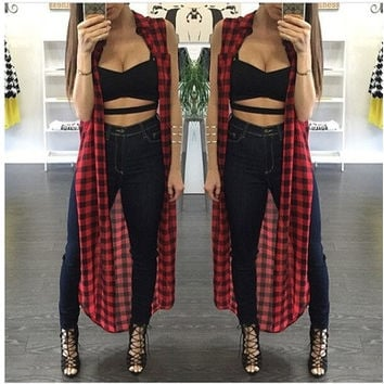 Best Summer Korean Style Women Casual Loose Long Plaid Blouses Sleeveless Split Shirts Lapel Tops Cardigan Coats [8833542732]