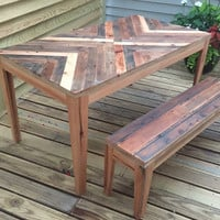 Reclaimed herringbone table and bench