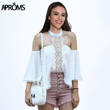 Aproms Elegant Off Shoulder White Lace Blouse Women Summer 2017 Sexy Halter Crochet Tunic Tops Flare Sleeve Cool Girls Blusas