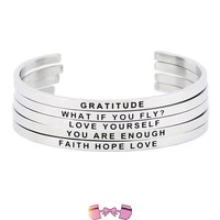 Stainless Steel Inspirational Quote Cuff bracelets for Women