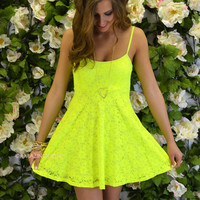 Oak Ridge Neon Yellow Lace Babydoll Dress