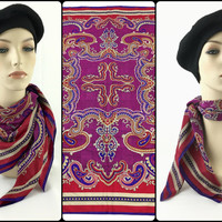 Vintage Oscar de la Renta Large Silk Neck Scarf Ornate Purple & Red Paisley Silk Headscarf Colorful Boho Hippie Chic Head Wrap Fleur de lis