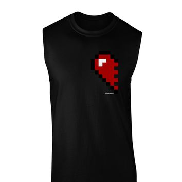Couples Pixel Heart Design - Left Dark Muscle Shirt  by TooLoud